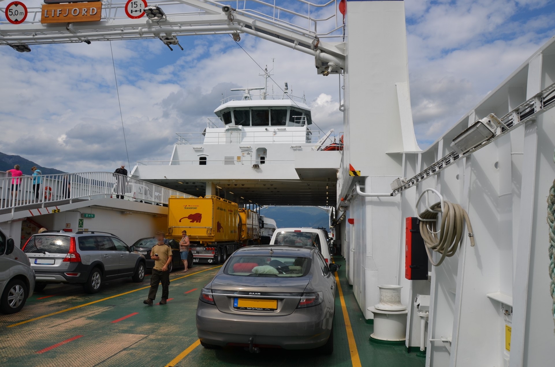 Our SAAB 9-5ng on a ferry in Scandinavia.