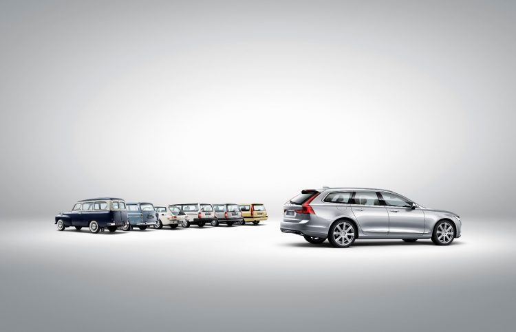Volvo V90 and a historical line up of Volvo estate models by Volvo Press